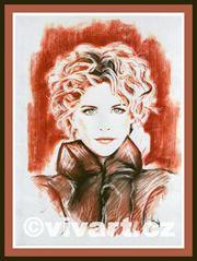 Kreslený portrét Meg Ryan - rudka